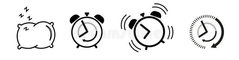 Duerma y despierte el despertador determinado del icono, almohada ilustración del vector