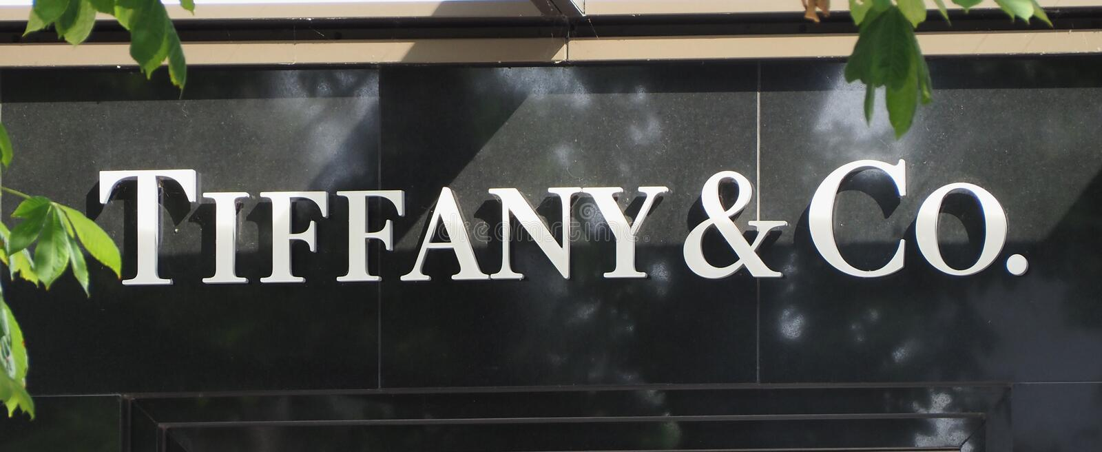 DUeSSELDORF - AUG 2019: Tiffany & Co sign royalty free stock photo