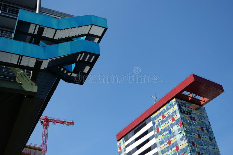 Duesseldorf, Germany, Europe; August 4, 2019: Closeup of the the Colorium building and the Port Event Center in the Media Harbor. In the Medienhafen Media stock images