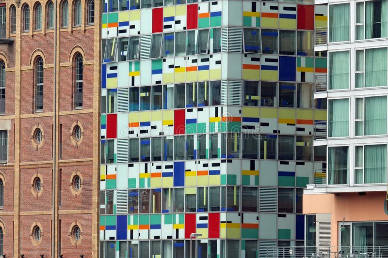 Duesseldorf, Germany, Europe; August 4, 2019: Closeup of parts of three buildings, among them the Colorium building; Media Harbor. In the Medienhafen Media stock photos