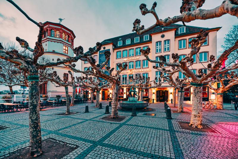 Duesseldorf, GERMANY - February 09, 2019: A well known brewery pub has its lights on and is ready to serve guests with food and royalty free stock images