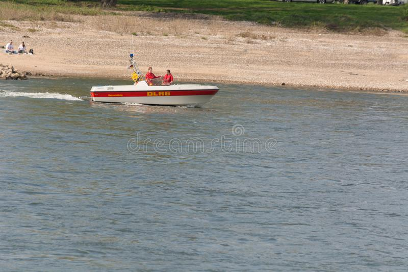 A DLRG boat on the river Rhine stock photography