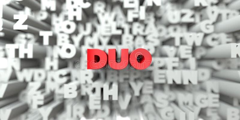 DUET - Czerwony tekst na typografii tle - 3D odpłacający się królewskość bezpłatny akcyjny wizerunek ilustracji
