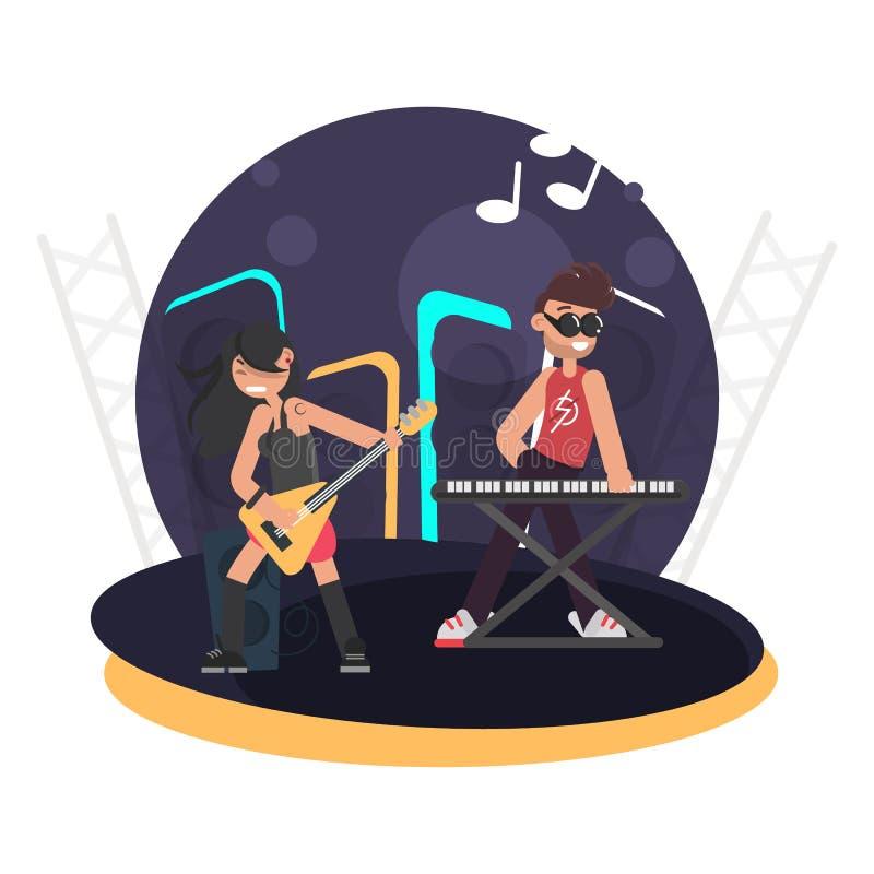Duet muzycy dla basowej gitary i syntetyk na scenie barwimy płaską ilustrację ilustracja wektor