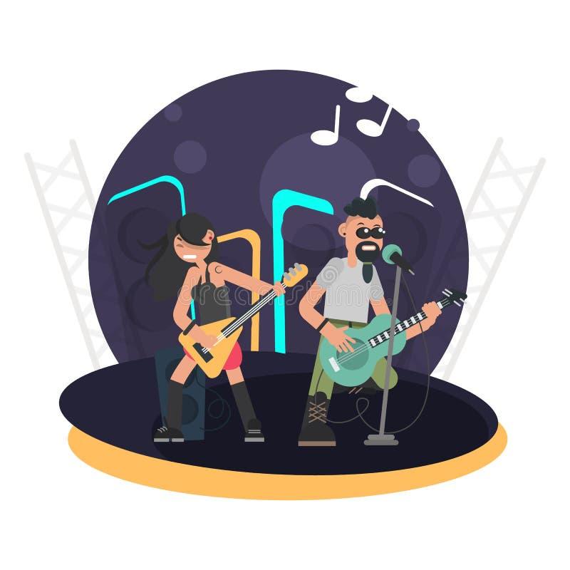 Duet muzycy z basową gitarą i prawo ziemi z gitarą na scenie barwimy płaską ilustrację ilustracji