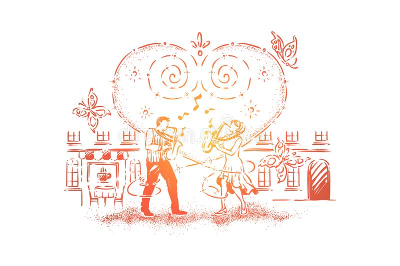 Duet playing composition together, man and woman playing saxophone, street musical performers, romantic date idea vector illustration