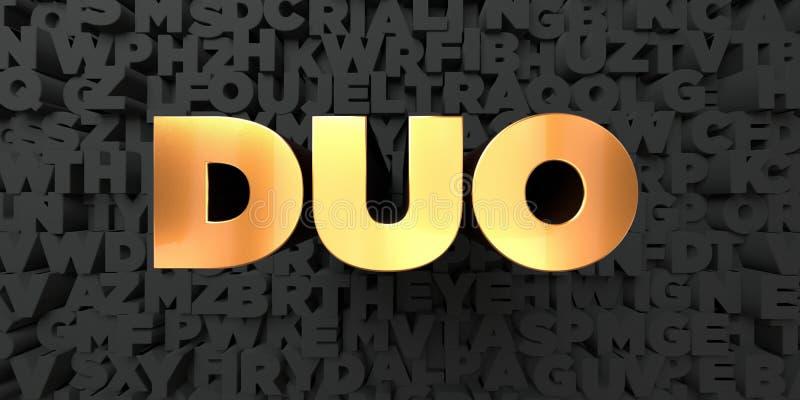Duet - Złocisty tekst na czarnym tle - 3D odpłacający się królewskość bezpłatny akcyjny obrazek royalty ilustracja