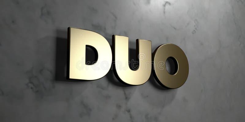 Duet - złoto znak wspinający się na glansowanej marmur ścianie - 3D odpłacająca się królewskości bezpłatna akcyjna ilustracja royalty ilustracja
