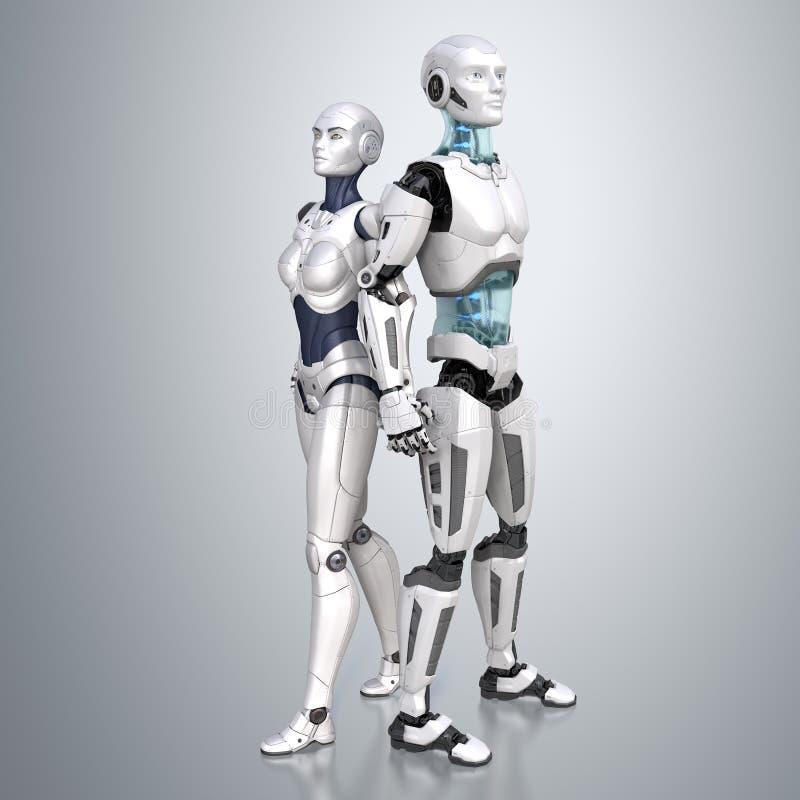 Dueto do Cyber Dois robôs ilustração do vetor