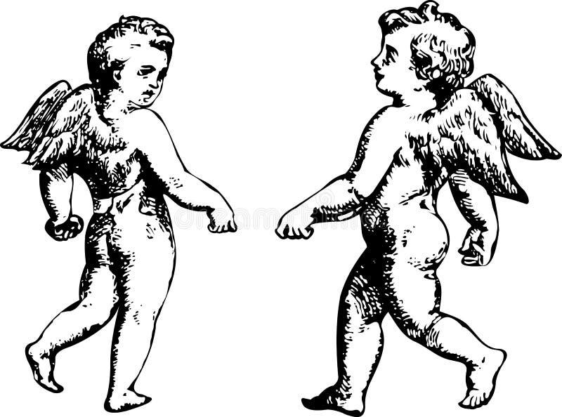 Dueto preto e branco dos anjos. Mais em minha carteira ilustração do vetor