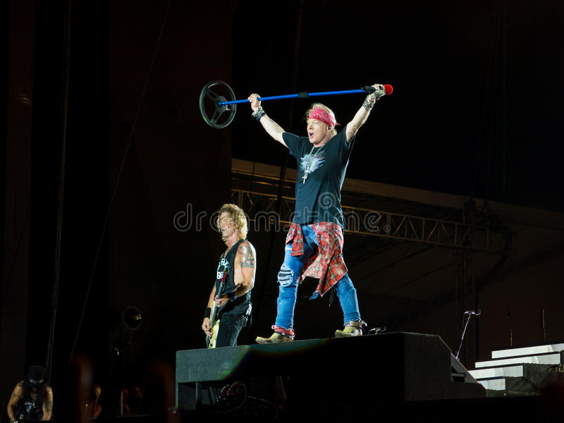 Duff McKagan and Axl Rosein Guns N Roses concert - not in this lifetime southamerica tour royalty free stock photography