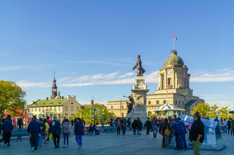 Dufferin Terrace and Armes square Place dArmes in Quebec City. Quebec City, Canada - September 27, 2018: Scene of the Dufferin Terrace and the Armes square Place stock photos