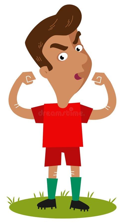 Dufny, dumnie stojący południe - amerykański kreskówka gracz piłki nożnej jest ubranym czerwoną koszula pokazuje daleko jego siłę royalty ilustracja