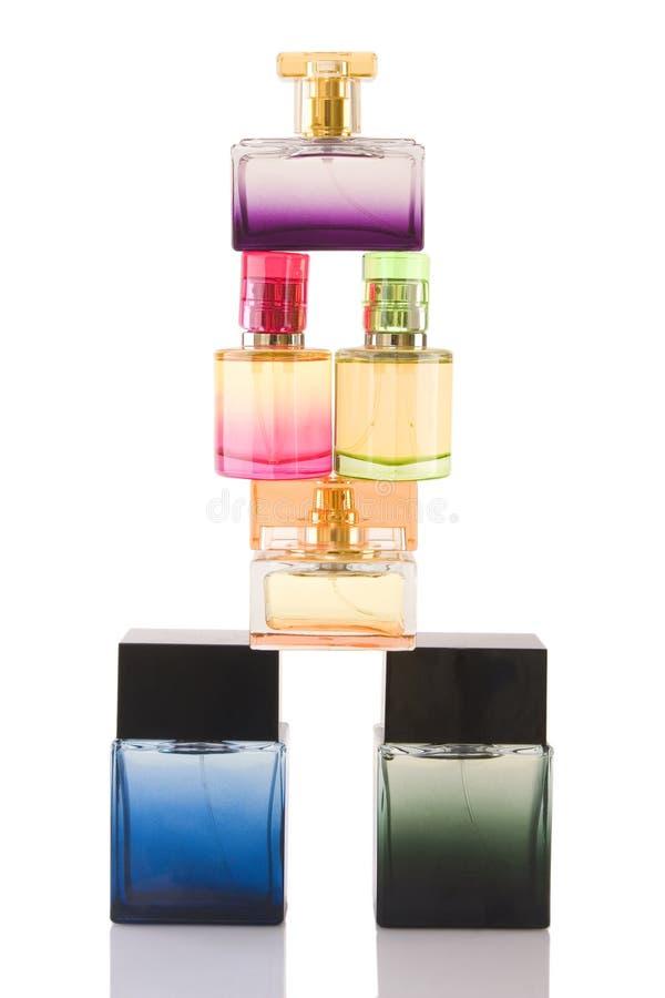 Duftstoff in den Glasflaschen stockbilder