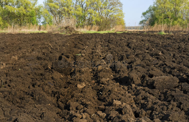 Dug the earth in the garden in the village. Dug the black earth in the garden in the village stock image