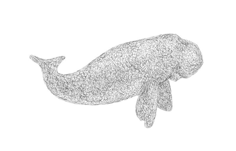 Dugong doodle line and dot art style. royalty free stock image