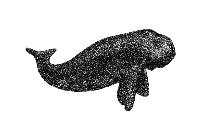 Dugong doodle line and dot art style. stock photo