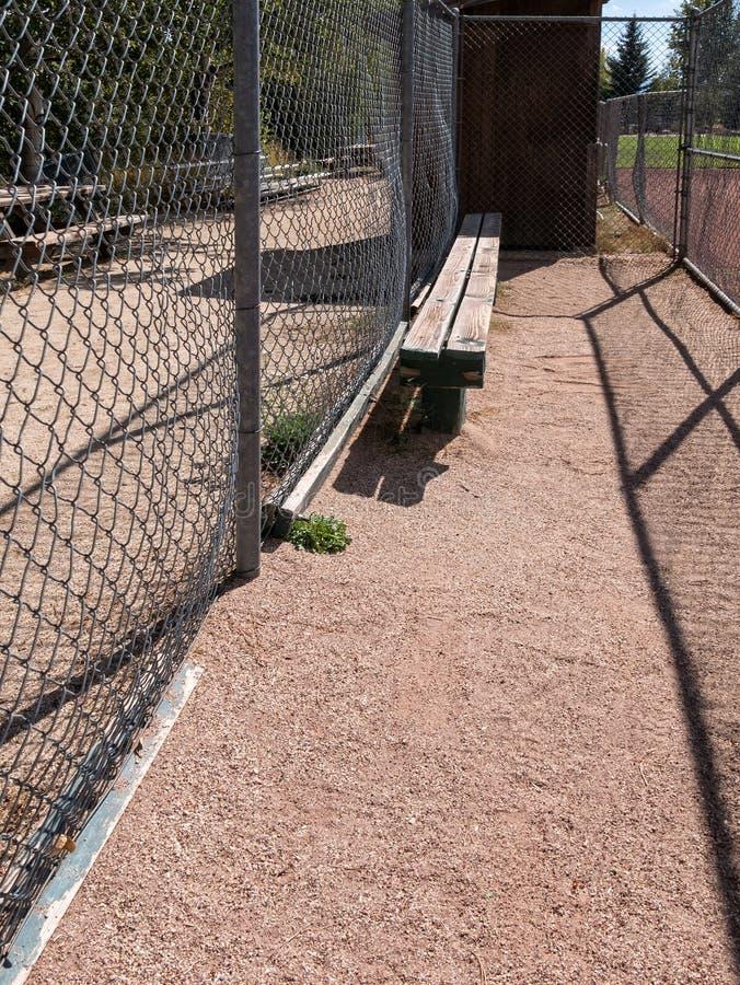 Dugout, baseball field. Baseball field dugout, city park royalty free stock photo