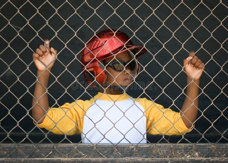 dugoutliga för baseball 3 little spelare royaltyfri foto