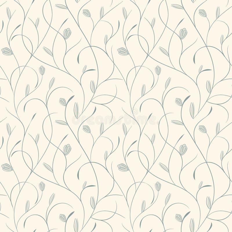 Duidelijk bloemenblauw op beige naadloos patroon royalty-vrije illustratie