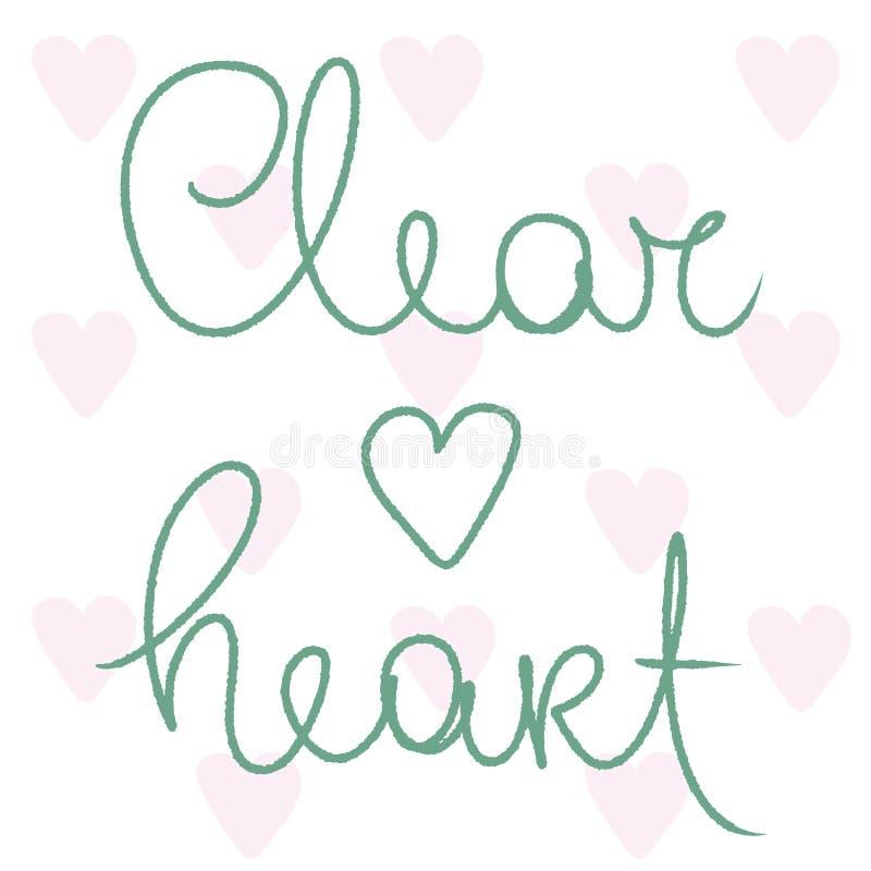 Duidelijk Hart Roze harten Vector die op wit wordt ge?soleerd Groene tekenillustratie De kaart van het liefdehart voor sociale me royalty-vrije illustratie