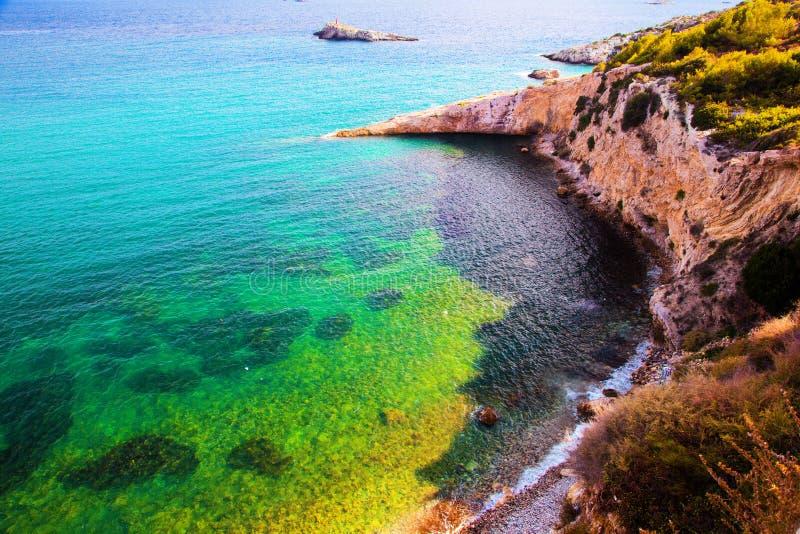 Duidelijk water van het overzees, Ibiza, Spanje royalty-vrije stock foto