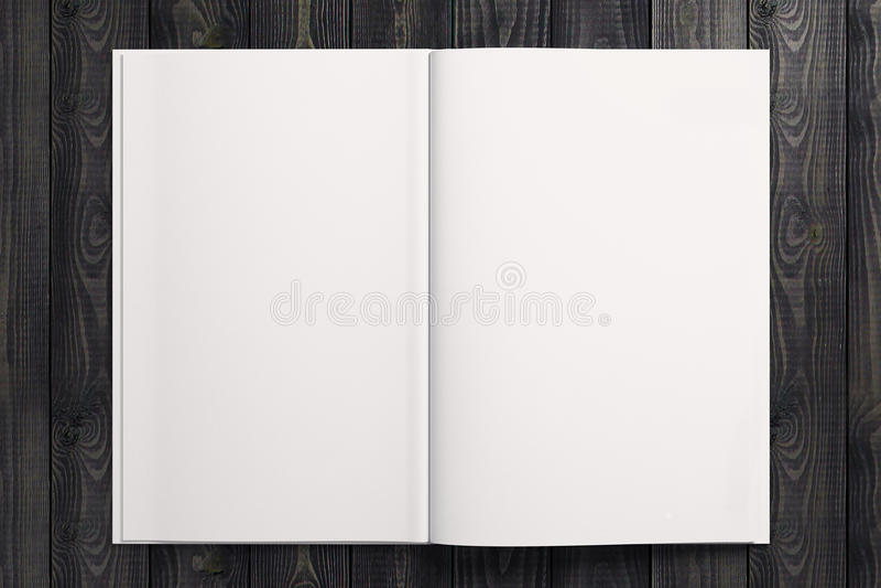 Duidelijk wit voorbeeldenboek op houten Desktop vector illustratie
