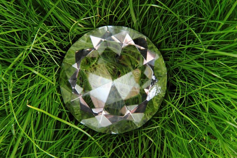Duidelijke diamant in het groene gras stock foto's