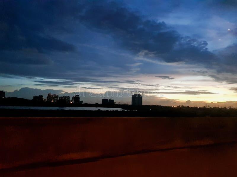 Duidelijke hemel bij nacht stock afbeelding