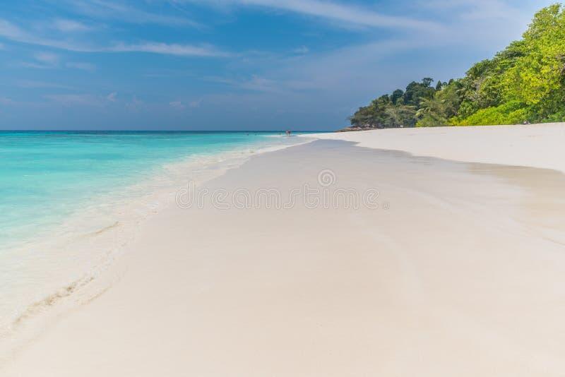 Duidelijke hemel met overzees en zand royalty-vrije stock afbeelding