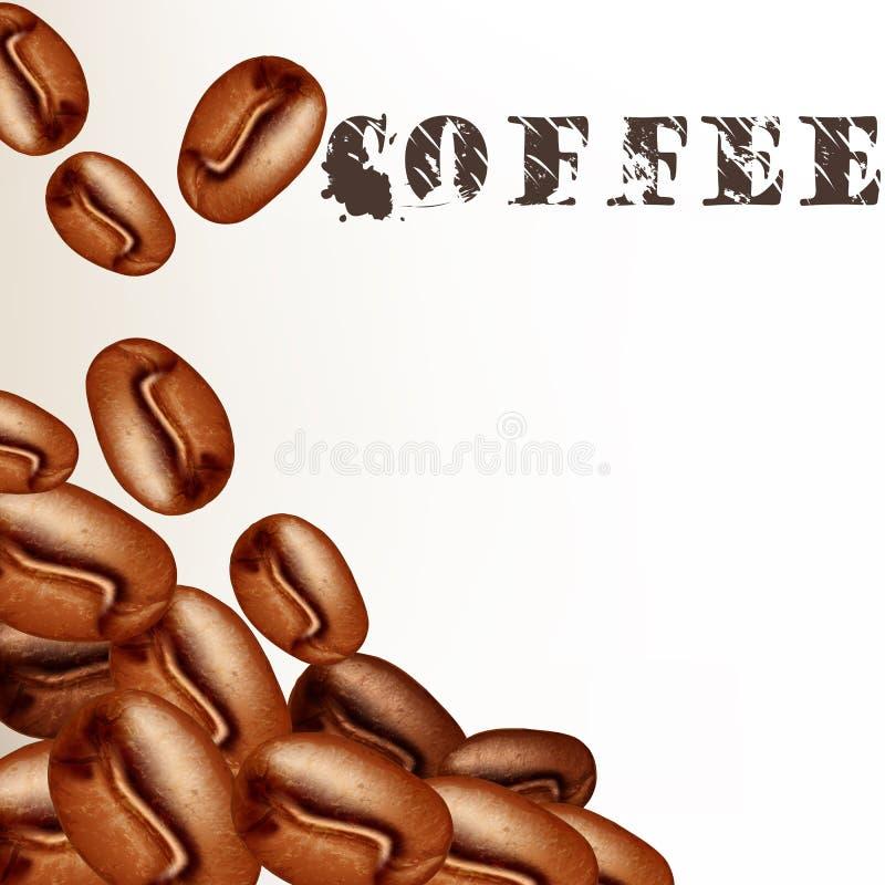 Duidelijke vectorachtergrond met koffiebonen royalty-vrije illustratie