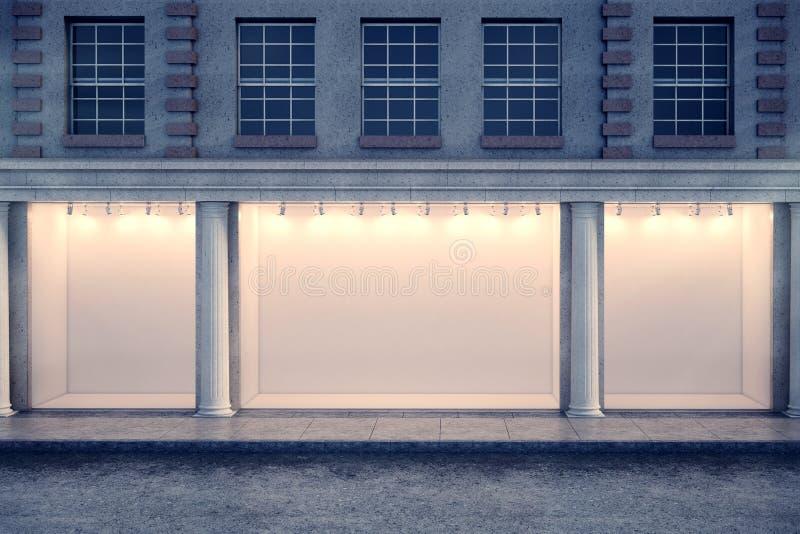 Duidelijke vensterwinkel bij nacht royalty-vrije illustratie