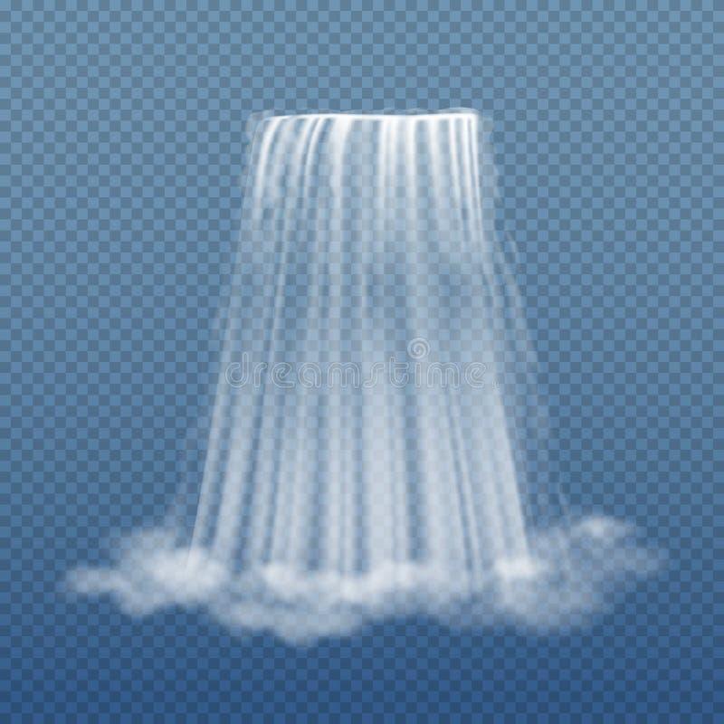 Duidelijke waterstroom van waterval op transparante vectorillustratie als achtergrond stock illustratie