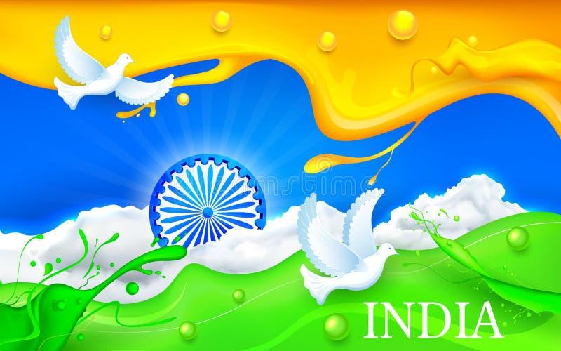 Duif die met Indische Tricolor-Vlag vliegen vector illustratie