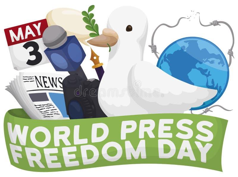 Duif Klaar om de Dag van de Persvrijheid met Journalist Elements, Vectorillustratie te vieren royalty-vrije illustratie