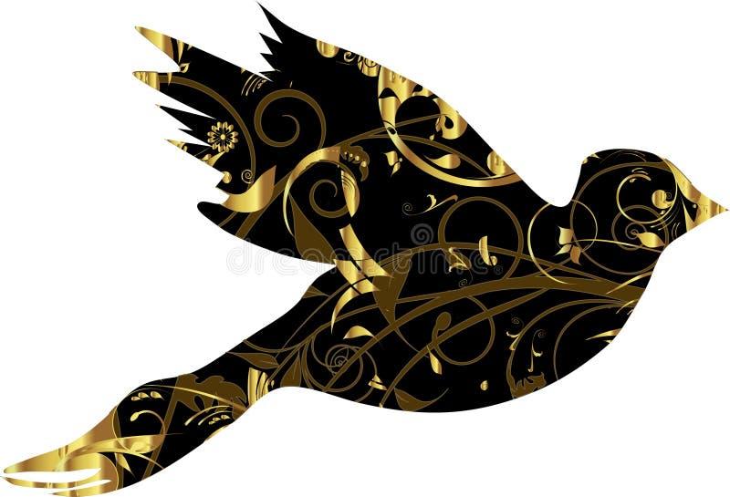 Duif met gouden ornament vector illustratie