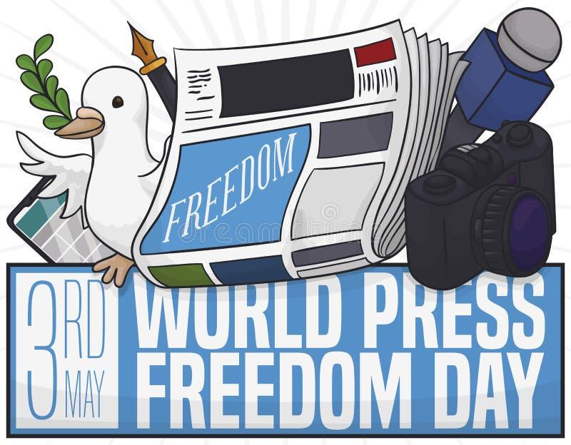 Duif met Journalist Tools om de Vrijheidsdag van de Wereldpers, Vectorillustratie te vieren royalty-vrije illustratie