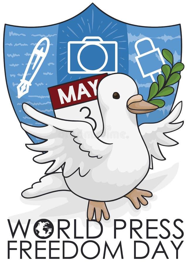 Duif met Kalender en Schild die de Vrijheidsdag van de Wereldpers, Vectorillustratie bevorderen royalty-vrije illustratie