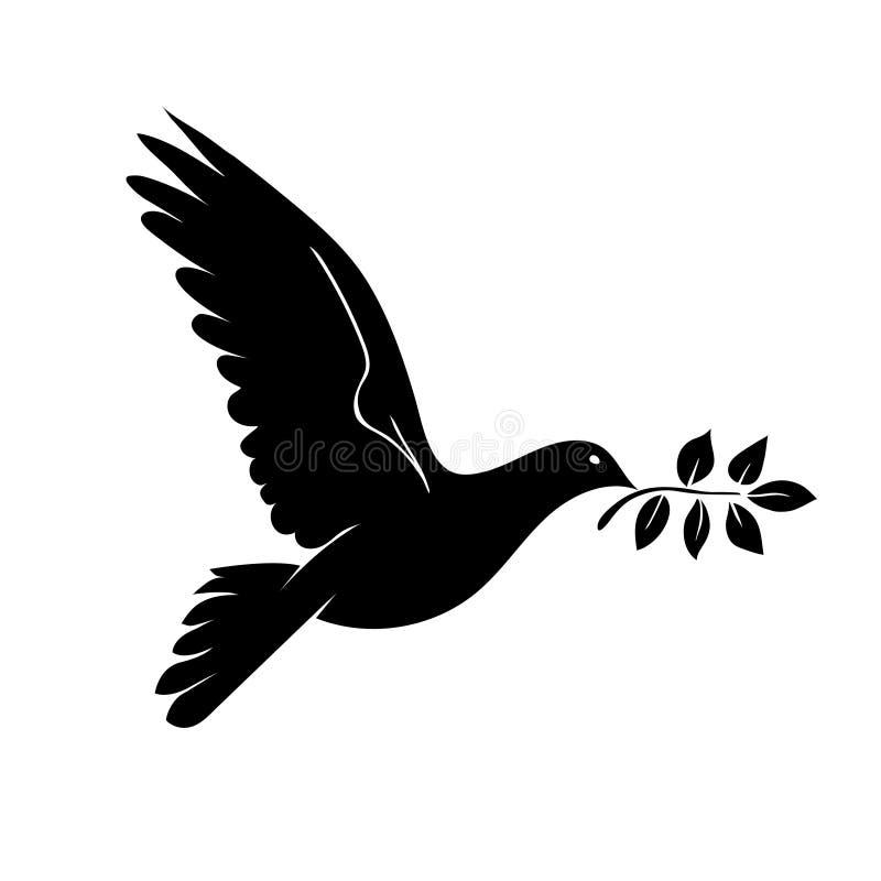 Duif met tak Symbool van Vrede vector illustratie