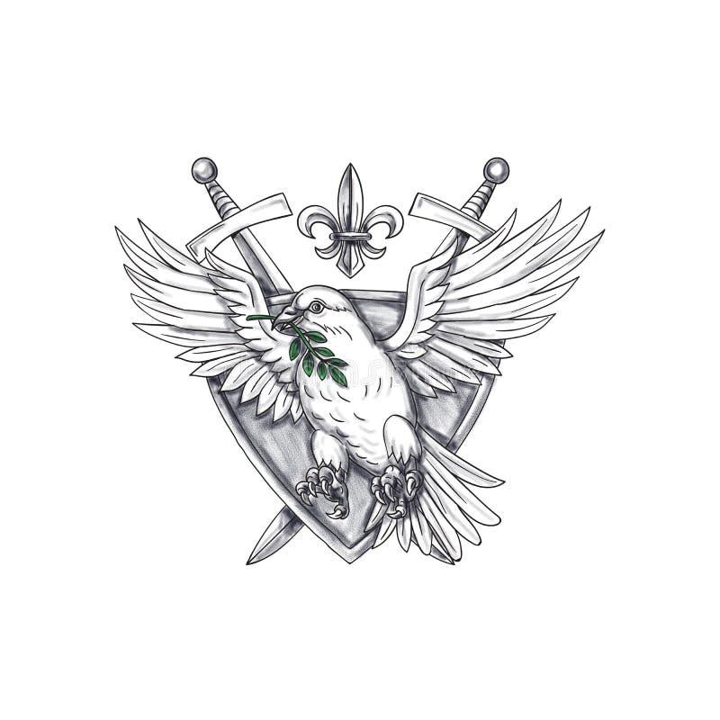 Duif Olive Leaf Sword Crest Tattoo vector illustratie