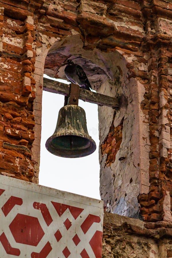 Duif op klok in een Kapel bij Duifpark dat wordt neergestreken stock foto's
