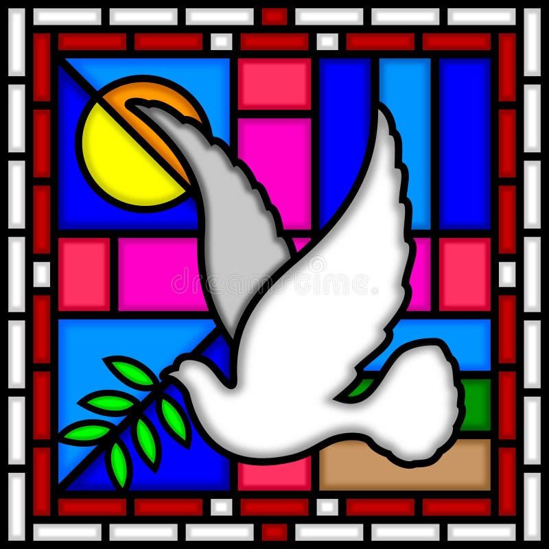 Duif van Vrede [Gebrandschilderd glas] vector illustratie