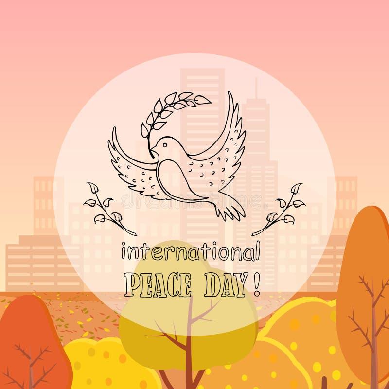 Duif van Vrede met Herfst van de Takje de Vectorillustratie stock illustratie