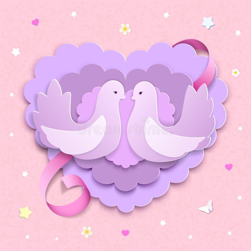 Duifpaar met gelaagde 3D document harten en roze lint Liefdeachtergrond met bloemen, sterren, vlinders, harten royalty-vrije illustratie