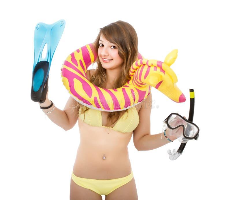 Duik en strand voor een vrouw in bikini stock foto's