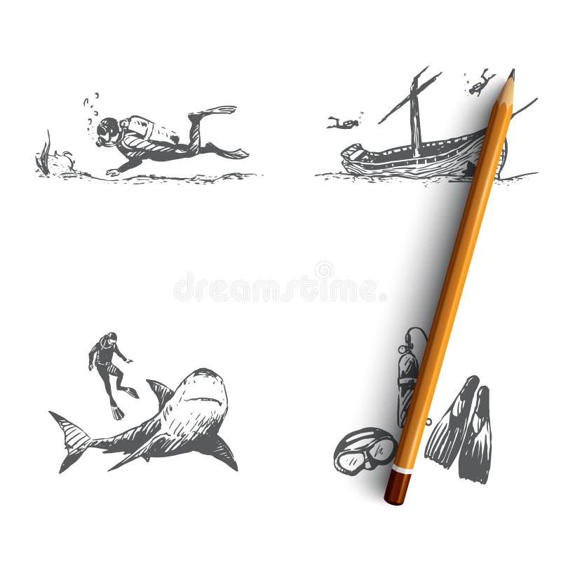 Duikend - vrij duiken, geheimen van de zeebedding, het materiaal van de duiker, de studie van de mariene reeks van het fauna vect royalty-vrije illustratie