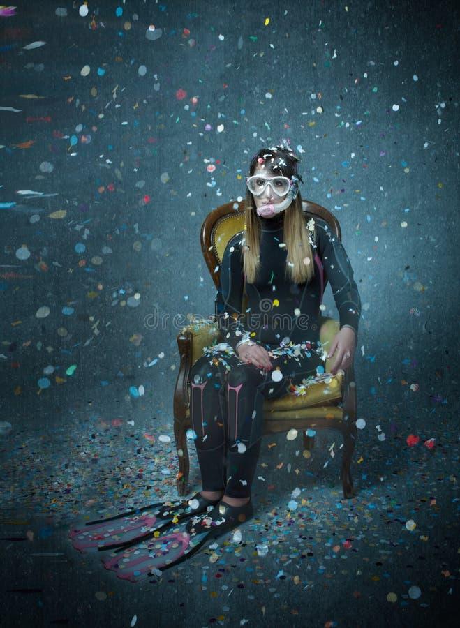 Duiker in Carnaval-golven royalty-vrije stock fotografie