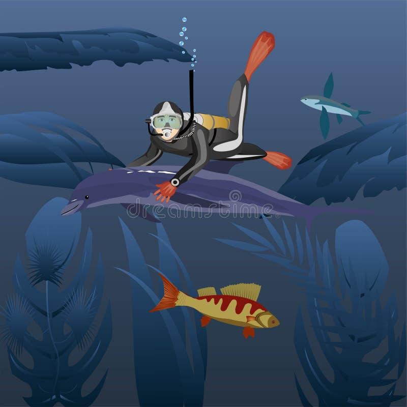 Duiker die met dolfijn in diep water zwemmen stock illustratie