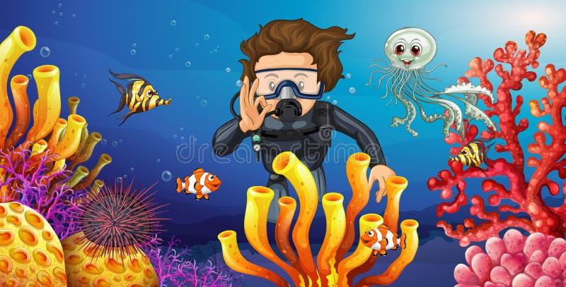Duiker duiken onderwater met vele overzeese dieren vector illustratie