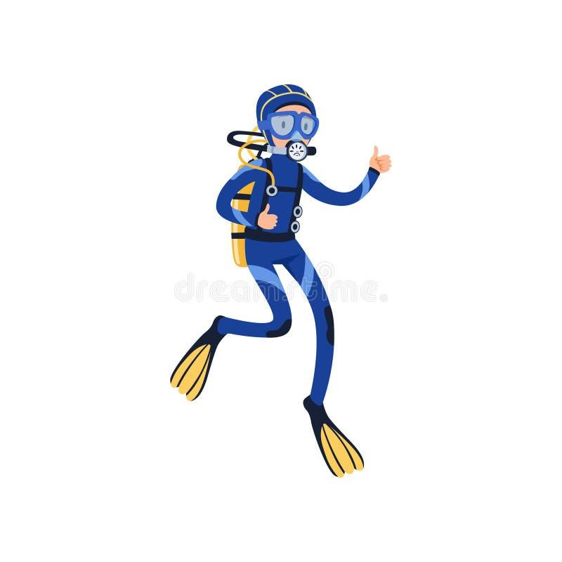 Duiker onderwater zwemmen en het tonen van duim Mens in speciale het duiken kostuum, masker, vinnen en ademhalingsgas op rug stock illustratie